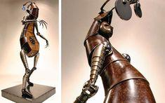 escultura-bio-mecanica-hombre-progresa-hacia-atras-Greg-Brotherton Portal, Steampunk, Design Inspiration, Heels, Boots, Creatures, Artists, Comment, Sculpture