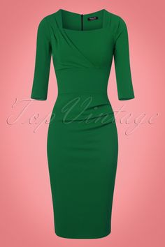 Your presence won't stay unnoticed when wearing this 50s Rhonda Pleated Pencil Dress in Emerald Green!  This killer dress hugs your curves in all the right ways and gives you a stunning hourglass figure, vavavoom! The stunning pleated details at the neckline and hip give her an elegant look and are also super flattering. Made from a stretchy, emerald green fabric with the look of Crêpe de Chine for a luxurious touch. Wear it to a business meeting or dress it up for a night out, Rhonda wil...