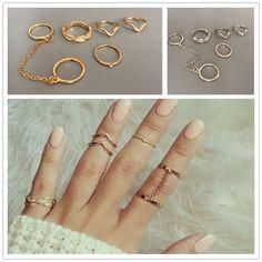 Accesorios de moda de la joyería Nueva Chevron midi anillo de dedo del rhinestone set de regalo para muchacha de las mujeres al por mayor R1425