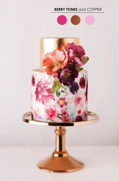 2 tiered copper and painted floral wedding cake Radiant Orchid, Copper Blush: Wedding Color Inspiration Beautiful Wedding Cakes, Gorgeous Cakes, Pretty Cakes, Amazing Cakes, Cake Wedding, Cake Bars, Dessert Bars, Copper Blush, Copper Wedding