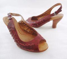 "Naya Fandanga Red Leather 3"" Bamboo Heels Slingbacks Open Toe Pumps Shoes 6M  #Naya #Slingbacks #WeartoWork"