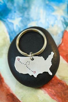 Two state map print going away gift for friends snowbirds best friend keychain going away gift map keychain united states keychain heart solutioingenieria Choice Image