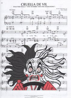 Repurposed Sheet Music Featuring Hand Painted Watercolor of Disney's Cruella De Vil from 101 Dalmatians *Buy 2 get 3rd FREE by SimpleeSaid on Etsy