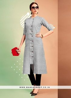 Be your own style icon with soothing grey color party wear cotton kurti. You can see some fascinating patterns done with printed work.like the idea of an inserted panel for buttons Salwar Designs, Kurta Designs Women, Kurti Designs Party Wear, Cotton Kurtis Designs, Kurti Sleeves Design, Kurta Neck Design, Dress Neck Designs, Blouse Designs, Hijab Fashion