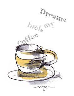 Coffee Dreams Card by MacGregorArt on Etsy, $3.50