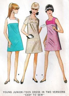 1960s Junior Shift Dress Vintage Sewing Pattern - my grandma made this for me ♥