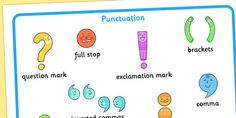 This simple punctuation mat features key pieces of punctuation. A great resource to keep on hand as a prompt and reference during independent writing tasks and other activities.