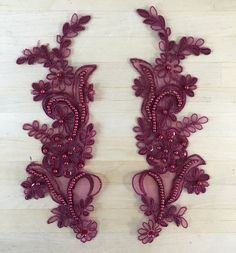 Burgundy Beaded Applique