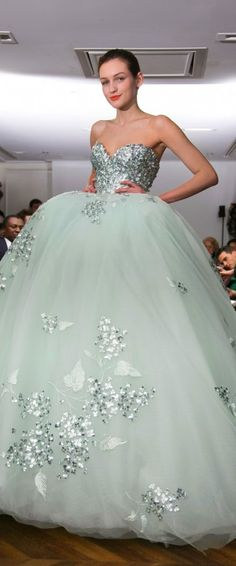 Tony Yaacoub Couture SS 2014 - Mint princess evening dress / ball gown with huge tulle skirt | Are you a princess too? Follow http://www.pinterest.com/thevioletvixen/princess-for-a-day/