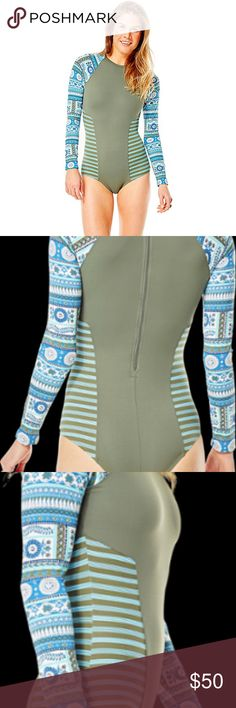 Carve Designs Madeline One-Piece Swimsuit NWT This suit is beautiful! Brand new, sanitary liner not removed.  Keep paddling past the reef and get the proper protection in this fabulous Madeline One-Piece. Athletic fitted cut hugs the body's natural curves. Versatile bathing suit has the same appeal as a wetsuit for moderate activity. Four-way stretch tricot fabrication shields harmful UV rays with UPF 50+ sun protection. High neck. Three-quarter zip closure at back with easy-access pull…