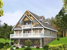 Architectural Designs Sloping Lot House Plan 35510GH gives you 3 beds plus a 4th in the lower level. Over 2,300 sq. ft. of living space overall. And great decks overlooking your property in back. Ready when you are. Where do YOU want to build?