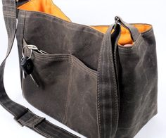 Waxed Canvas Purse - Messenger Bag - Bucket Bag - City Tote - Vegan Leather Tote - Brown Handbag - Gift - Margeaux - MTO