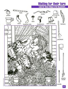 Waiting for Their Turn Hidden Picture Coloring Page Hidden Object Puzzles, Hidden Picture Puzzles, Hidden Objects, Colouring Pages, Coloring Books, Highlights Hidden Pictures, Hidden Pictures Printables, Hidden Images, Hidden Pics