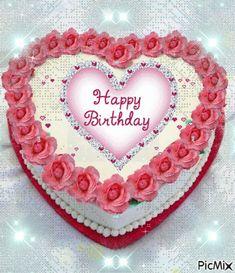 Happy Birthday Flower Cake, Happy Birthday Flowers Wishes, Happy Birthday Hearts, Happy Birthday Greetings Friends, Happy Birthday Cake Pictures, Happy Birthday Wishes Images, Happy Birthday Celebration, Happy Birthday Video, Birthday Blessings