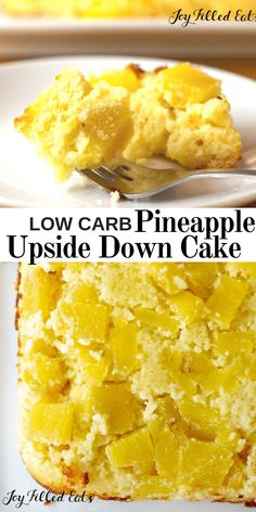 3 NET CARB Low Carb Pineapple Upside Down Cake from Scratch - Gluten-Free, Sugar-Free, Grain-Free, THM Friendly - Low Carb Pineapple Upside Down Cake? This tender yellow cake has a sweet pineapple topping and only 3 net carbs per piece! It's easy to Sugar Free Desserts, Sugar Free Recipes, Low Carb Recipes, Dessert Recipes, Keto Desserts, Diabetic Desserts Sugar Free Low Carb, Sugar Free Snacks, Dinner Recipes, Cake Recipes
