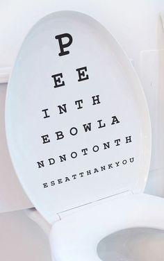 Toilet Seat Eye Chart Decal // haha!! #product_design #bathroom