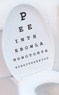 Toilet seat Eye Chart decal // So funny!!