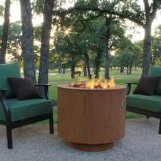 W/lid, possible lower patio table & fire pit, when wanted... Cor-Ten Steel Fire Pit   30-In Round With Optional Lid