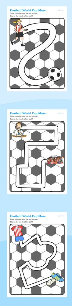 Football/World Cup- Pencil Control Path Worksheets