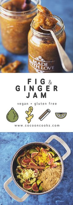 Homemade Fig & Ginger Jam Recipe. 100% plant-based, super healthy and delicious! #vegan #recipe #ericksonwoodworks