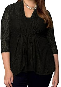 V Neck Floral Lace Raglan Long Sleeve Shirt Top 34 Sleeve Cardigan Blouse US 18  Label XXL A Black -- Continue to the product at the image link.Note:It is affiliate link to Amazon.