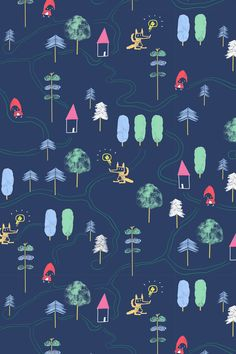 What about a playable wallpaper for your kids' room?  Red Riding Hood, into the woods, trees and houses map fabric by canigrin on Spoonflower - custom fabric