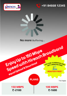 No more buffering Enjoy upto speed with hireach Broadband. Fast Internet, Speed Internet, How To Plan, High Speed, Free
