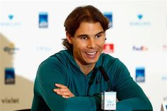 Rafael Nadal of Spain talks to the media during the Barclays ATP World Tour Finals previews at O2 Arena on November 13, 2015 in London, England.