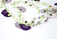 Purple Lavender Pink Crochet Flowers Oya Circle Lariat Necklace