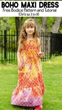 Little girl's love maxi dresses! Use this free Boho Maxi Dress Pattern to make your daughter a maxi dress she will love. (Free pdf pattern in sz 3 to Little Girl Dress Patterns, Sewing Patterns For Kids, Dress Sewing Patterns, Little Girl Dresses, Skirt Patterns, Blouse Patterns, Pdf Patterns, Clothes Patterns, Kids Maxi Dresses