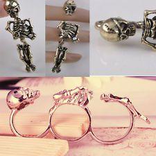 Vintage Retro Fashion Cool Men Lady Skull Skeleton Double Finger Rings Free