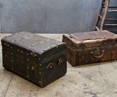 Old Victorian Leather Regalia Uniform Trunks. Must have for home decor....