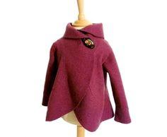 Jacken - Mädchen Walk Wolle Volant Jacke,Lila. - ein Designerstück von Rosenrot-Modedesign bei DaWanda