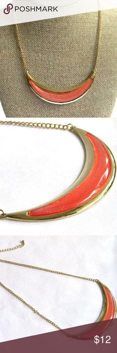 3/$30!  Orange Crescent Statement Necklace **3/$30 DEAL! Bundle ANY 3 jewelry items in my boutique, and I will make you an offer of $30! Bundle more for an even greater discount!**     New with Tags Statement Necklace! - Colors: orange; gold tones  - Adjustable length necklace     Item # - POSH201 Jewelry Necklaces