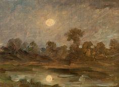"""HUET Paul (1803-1869) """"Paysage nocturne au clair de lune"""". Huile sur toile. Haut.: 18 cm; Larg.: 25 cm. (Bande de tension). Provenance: Fonds d'atelier de l'artiste puis par succession Henriane Henrotin… - Audap-Mirabaud - 27/03/2015"""