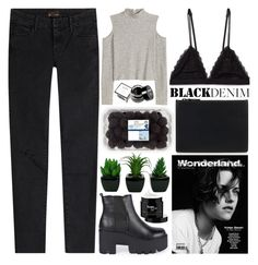 """Black Denim - Polyvore Contest"" by evangeline-lily ❤ liked on Polyvore featuring Helmut Lang, Mother, Boohoo, NYX, philosophy, women's clothing, women's fashion, women, female and woman"