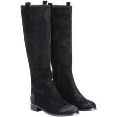 SheIn(sheinside) Black Brush Round Toe Tall Boots