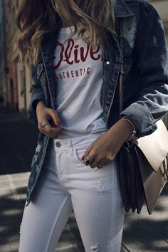 Denim Jacket Outfit for Summer - white and blue denim Look with Logo Shirt worn by Jecky from Want Get Repeat