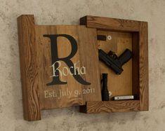 Solid Oak Concealed Gun Storage, Gun Storage, Hidden Gun Storage, Monogram Family Name Sign