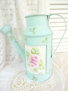 GARDEN CHIC WATERING CAN daSommers roses hp hand painted cottage shabby vintage $22.99