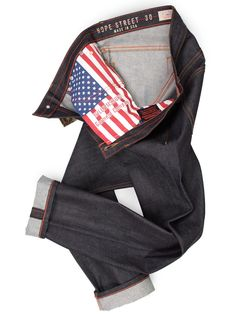 American Made Men's Raw Denim (Jeans Made in USA) Slim Fit (Grand Street) - Williamsburg Garment Company - Support our country people, plus check out that awesome US flag.