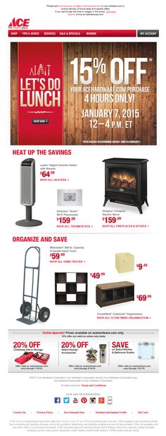Email From Ace - Categories + Products. Subject line: It's a new year. Save 15% on acehardware.com. 4 hours only!