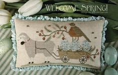 WITH THY NEEDLE Welcome Spring! counted cross stitch patterns at thecottageneedle.com Easter 2018 Nashville Market by thecottageneedle