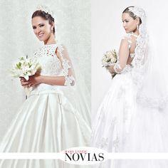 Isabel Rioja con un hermoso vestido de Rosa y Gris con encaje y bordados y amplio faldón que destacan la silueta femenina de ls novia. #ModaNupcial #VestidoDeNovias
