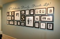 picture wall /Celebrate Family, Friends & Life Display. Love the Neutral colors used♡ ♡
