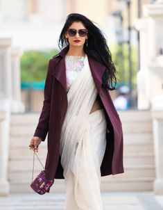 Shopzters | Time to follow the 'Shirt Jacket' Trend! Saree Wearing Styles, Saree Styles, Saree Jacket Designs, Blouse Designs, Dress Indian Style, Indian Dresses, Office Wear Women Work Outfits, Emo Outfits, Indian Bridal Couture