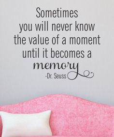 how nice ... Sometimes you will never know the value of a moment until it becomes a memory ... Dr. Seuss ...