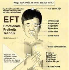 EFT ist eine wirksame, drogenfreie, leicht erlernbare und einfach anzuwendende Technik, die Stress reduzieren kann, oder bei quälenden Gedanken, belastenden Erfahrungen usw. helfen kann. Die traditionelle chinesische Medizin verwendet Meridian-Punkte im Körper, die mit den Fingerspitzen einer Hand leicht angeklopft werden, während zur gleichen Zeit bestimmte relevante Sätze wiederholt werden. Die Theorie dieser Technik beruht