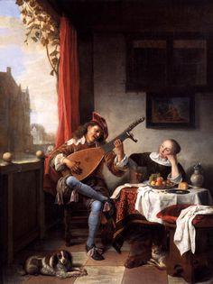 SORGH, Hendrick Maertensz.  Dutch painter, Rotterdam school (b. ca. 1610, Rotterdam, d. 1670, Rotterdam)  The Lute Player1661