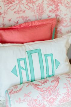 DIY'd monogram pillows for a kids room - love this preppy look!